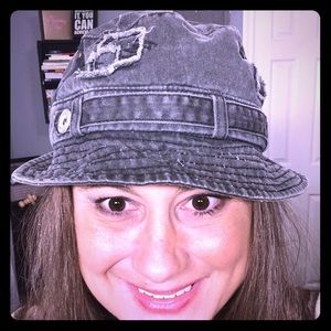 Distressed gray brim hat